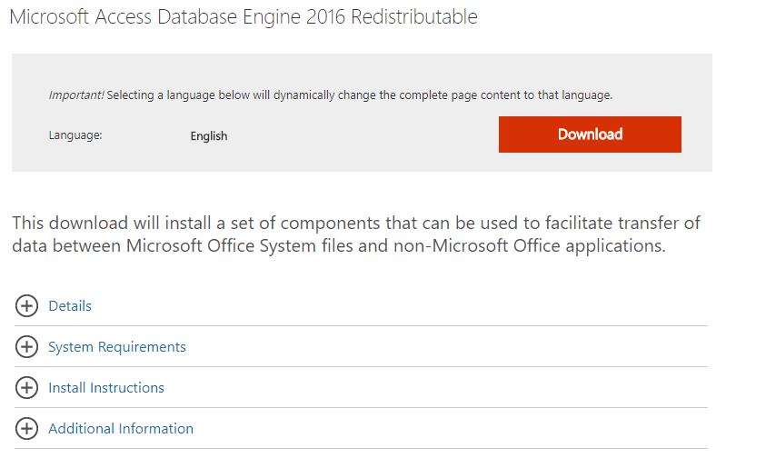 Microsoft Access データベース エンジン 2016 再頒布可能コンポーネント