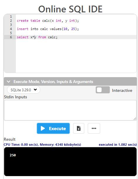 Online SQL IDE