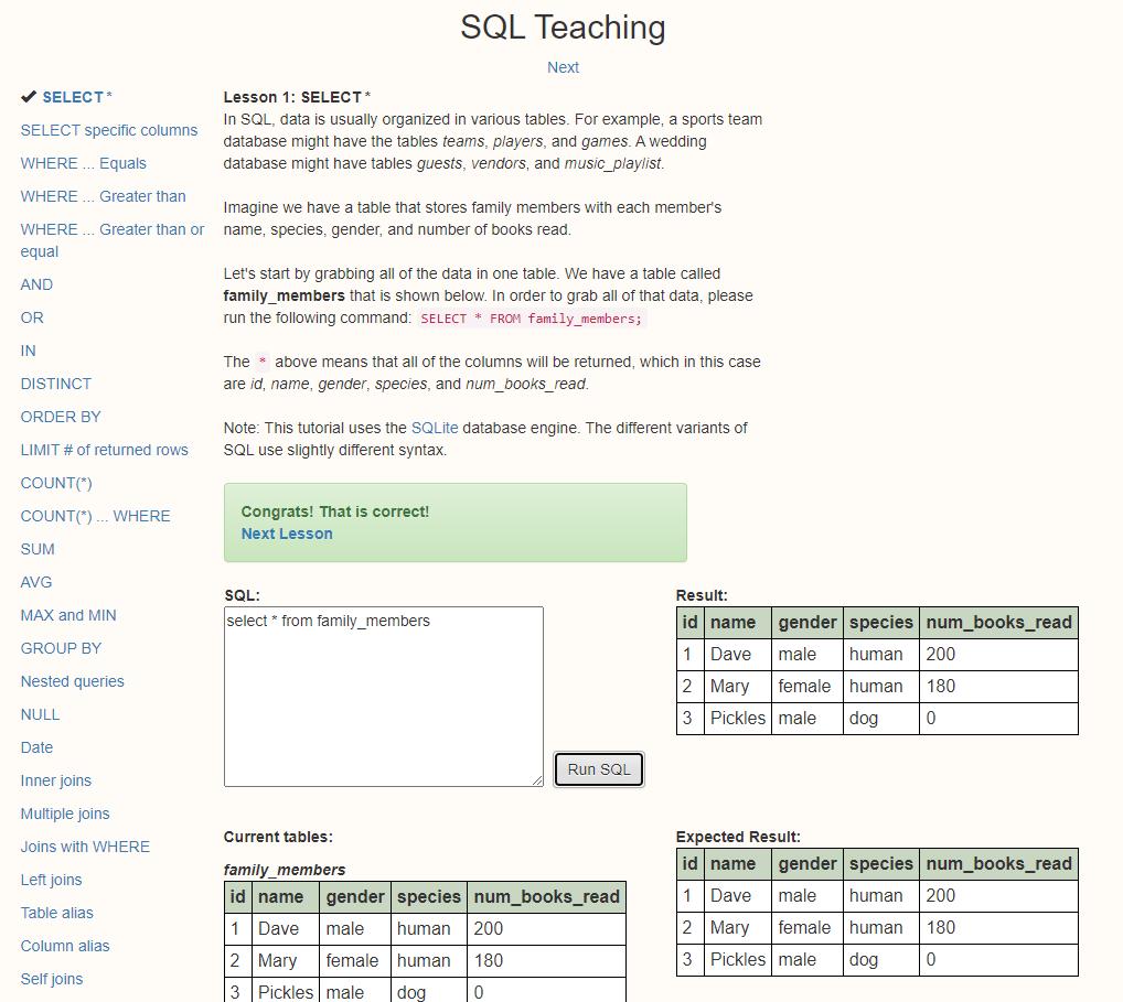 SQL Teach